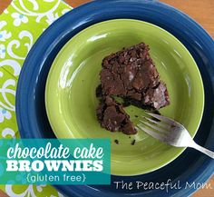 These Gluten Free Chocolate Cake Brownies are easy to make and they taste even better than non-gluten free brownies! - from The Peaceful Mom  #glutenfreerecipe