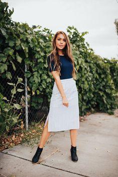 23b742ad95b PARIS STRIPED SKIRT - Citrus   Lemon Black Midi Skirt