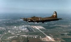 The B-17 G 'Shoo Shoo Baby' on a test flight over Dover AFB, Delaware. The plane is the only flyable B-17 in existence today that flew combat missions in World War II
