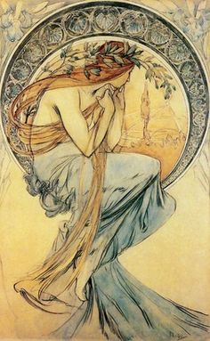 The Four Arts: Poetry by Alphonse Mucha