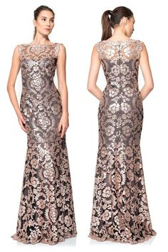 $508 Tadashi Shoji Antique Pink Illusion Sequin Paillette Lace Dress Gown #TadashiShoji #BallGown #Cocktail