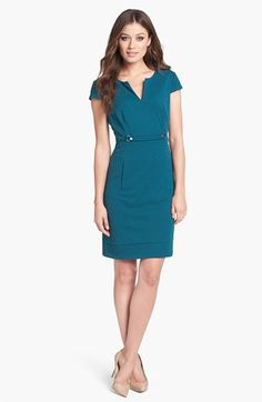 Adrianna Papell Buckle Detail Textured Crepe Sheath Dress available at #Nordstrom