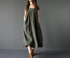 Summer Loose Fitting Long Maxi Dress Women Long Dress in Army Green