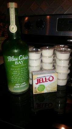 Key Lime Pudding Shots!! 3/4 cup Blue Chair Bay Key Lime Rum Cream, 3/4 milk, 1 package Cheesecake Pudding, and 8 oz cool whip. Mix together, place in shot cups, and freeze for at least 2 hours. Enjoy!