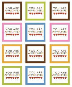 You are Appreciated --Teacher Appreciation Day --Free Printables