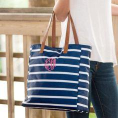 Monogrammed Navy Blue Stripe Tote  Apparel & Accessories > Handbags > Tote Handbags