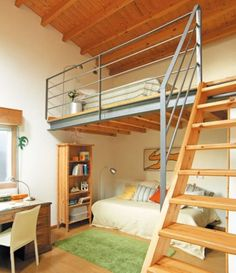 Bedroom loft ideas tiny apartments curtains 26 Ideas for 2019 Mezzanine Loft, Mezzanine Bedroom, Loft Room, Bedroom Loft, Master Bedroom, Small Rooms, Small Spaces, Bedroom Reading Nooks, Tiny Apartments