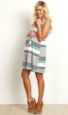 c0ab20dcb72 Grey White Jade Alternating Striped Sash Tie Draped Back Maternity Dress