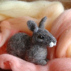 Adorable!!!  Bunny Rabbit Needle Felting Kit by BearCreekDesign on Etsy