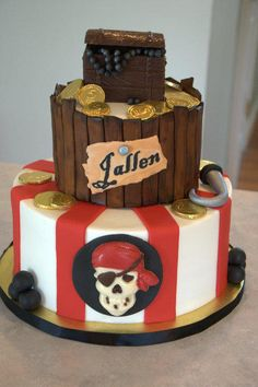 This was a pirate cake for a 5 year old. The top tier is vanilla with a…