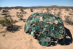 Camp CARPA: Craftivism in the Desert. Jemima Wyman's Drone Evasion Dome on the edge of Camp CARPA. Photo by Jemima Wyman
