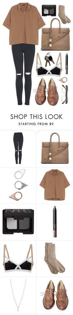 """mother & father - broods"" by hannahgraceroberts ❤ liked on Polyvore featuring Topshop, Yves Saint Laurent, Monki, Donna Karan, NARS Cosmetics, VPL, Bamford, Minor Obsessions and Studio TMLS"