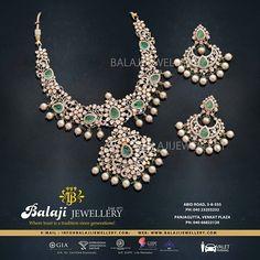 Diamond Earrings Indian, Pink Diamond Jewelry, Diamond Necklace Set, Emerald Diamond, Stone Necklace, Gold Jewelry, Jewelery, Gold Necklace, Jewelry Design Earrings