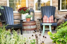 Love this barrel planter flipped upside down as an outdoor side table. Lowes has these (old whiskey barrels)