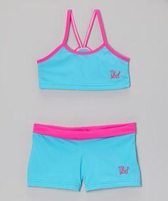 Look what I found on #zulily! Aqua & Hot Pink Sports Bra & Shorts - Toddler & Girls by SBD Sportswear #zulilyfinds