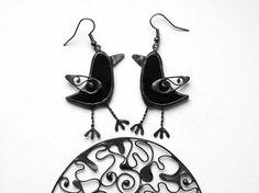Crow Earrings Black Raven Earrings Halloween Jewelry by ArtKvarta, $26.00
