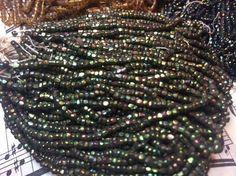 Antique mini bead hank Carnival beads green Iris metallic Art Nouveau Deco  Cut Seed Beads Peacock Green AB