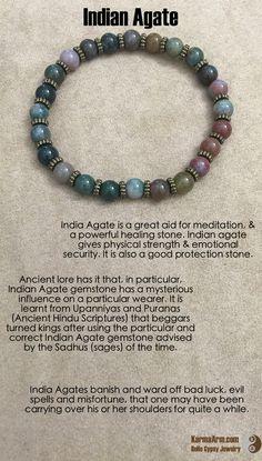 gemstone mala yoga bracelet - GOOD FORTUNE: Indian Agate Yoga Mala Bead Bracelet - Karma Arm. - 3