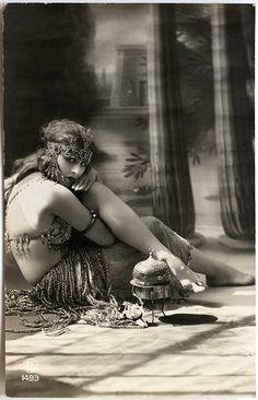 Egyptian Revival Risque Dancer Postcard
