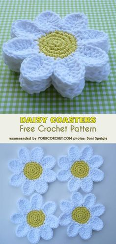 Transcendent Crochet a Solid Granny Square Ideas. Inconceivable Crochet a Solid Granny Square Ideas. Appliques Au Crochet, Crochet Motifs, Crochet Stitches, Crochet Dishcloths, Crochet Doilies, Crochet Daisy, Crochet Flowers, Easy Crochet, Daisy Flowers