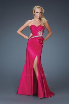 A-Line Sweetheart Neckline Strapless with Beading and Split on the Skirt Floor Length Zipper Soft Satin prom dress