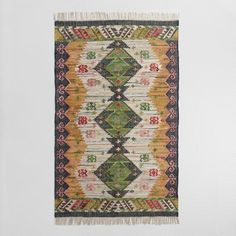 One of my favorite discoveries at WorldMarket.com: 5'x8' Boho Woven Cotton Kilim Alina Area Rug