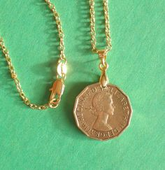 English Coins, Gold Necklace, Pendant Necklace, World Coins, Coin Pendant, Chain Jewelry, Gold Filled Chain, Queen Elizabeth, Etsy Shop