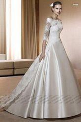 Aライン ウェディングドレス ブラシトレーン オフショルダー アイボリー 001870001001