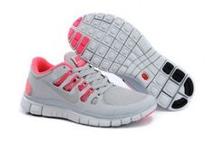 Nike Free 5.0+ Womens Light Gray Bright Pink Running Shoes
