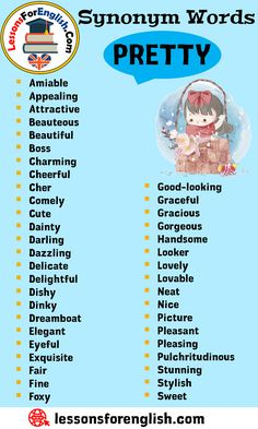 Synonym Words - Pretty, English Vocabulary - Lessons For English English Learning Spoken, Learn English Grammar, Learn English Words, English Phrases, English Language Learning, English Vocabulary, Teaching English, Essay Writing Skills, Book Writing Tips