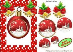 Christmas Bauble With Snow Scene Oval Pyramids