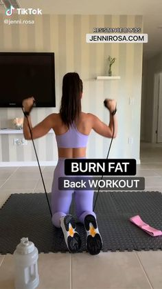 Fitness Workouts, Gym Workout Videos, Gym Workout For Beginners, Fitness Workout For Women, Band Workouts, Toning Workouts, Workout Routines, Fitness Goals, Back Workout At Home