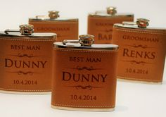 1 Leather Flask Wedding party favors by MemoriesMadeToronto