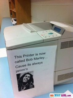 Our workroom constantly has this problem...I think I should make a copy of this for ours and name him Bob or Marley too. (:
