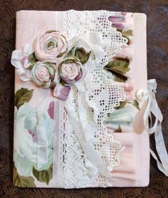 Gorgeous Pink Vintage Roses Fabric Journal by sewmanyroses on Etsy, $32.00