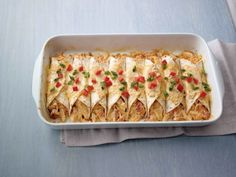 Easy Chicken Enchiladas with Philidelphia Santa Fe Cooking Creme. Would be awesome with soy chicken!