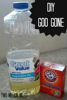 DIY Goo Gone 1. 1:1veg oil & Baking Soda (mix well) 2.  set for 5- 10 mins 3. rinse with warm H20 - going to try it.