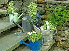 Treppenhaus Deko frische Blumen Topfpflanzen Garten