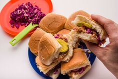These juicy, saucy, super-simple mini sandwiches bring hearty home cooking to camp. Pair them with our Simple Slaw for the perfect backcountry meal. Hiking Food, Backpacking Food, Camping Meals, Easy Bbq Chicken, Chicken Sliders, Gourmet Recipes, Dinner Recipes, Instant Mashed Potatoes, Mini Sandwiches