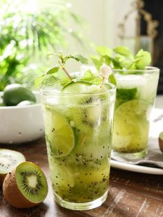 Fresh kiwi, blended to extract its tangy juice, muddled with lime and mint and served over ice with rum creates Kiwi Lime Mojitos – a fresh take on the classic. // kiwi lime mojito recipe // mojito recipe rum // drinks with kiwi // Party Drinks, Cocktail Drinks, Cocktail Recipes, Summer Cocktails, Green Alcoholic Drinks, Aperitif Drinks, Mezcal Cocktails, Birthday Drinks, Yummy Drinks