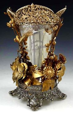 Gorham Sterling Silver Gilded Vase