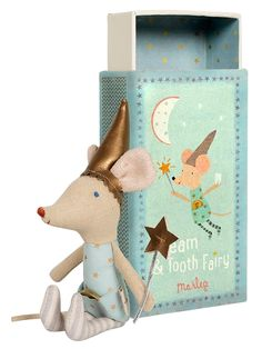 Tooth Fairy Boy Mouse in Box he cutest blue eyed Tooth Fairy Mouse in the world now comes with a Maileg Match Box! At night the Tooth Fairy Mouse spreads his fairy dust, collects lil' baby teeth, brings treats and always makes sure you have the sweetest dreams.