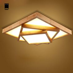 LED Square Big Oak Wood Acrylic Ceiling Light Fixture Nordic Japan Style Plafon Lamp Luminaria Foyer Living Room Bedroom Kitchen #Affiliate Ceiling Light Fixtures, Lighting, Lamp, Traditional Lighting, Ceiling Fixtures, Light Fixtures, Ceiling, Lights, Indoor Decor