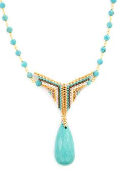 TURQUOISE BEAD AND PENDANT NECKLACE
