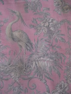 Antique French Fabric 19th Century Toile Fragment Heron Bird  Scrolls Roses PINK RARE. via Etsy.