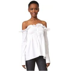 Victoria Victoria Beckham Off the Shoulder Shirt featuring polyvore women's fashion clothing tops white white ruffle shirt off shoulder tops white off the shoulder shirt white shirts long sleeve shirts