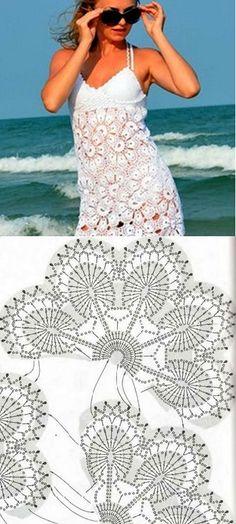 very styl Deniz Crochet Jacket, Crochet Blouse, Knit Crochet, Crochet Dresses, Crochet Clothes, Dress Skirt, Lace Skirt, Crochet Motif Patterns, Tear