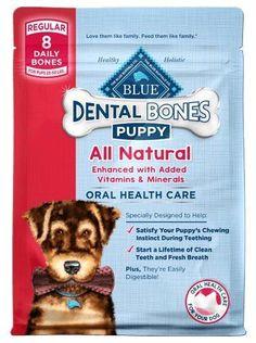 Blue Buffalo Dental Bones Dog Chews Puppy Reg Treats 12 oz