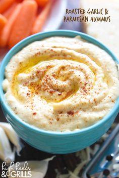 Roasted Garlic and Parmesan Hummus Dip