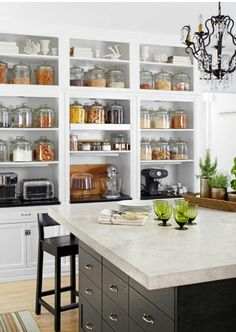 There Is Something Really Inviting About Glass Jars Filled With Simple,  Textural Things. Love This Large Wall Of Built In Shelving.